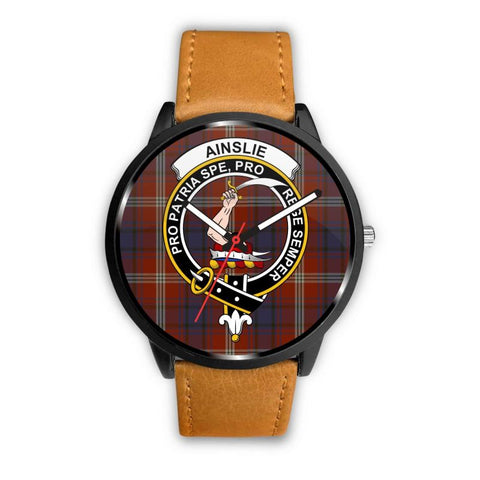 Ainslie Clan Badge Tartan Leather/steel Watch P1 Mens 40Mm / Brown Leather-Steel Watches