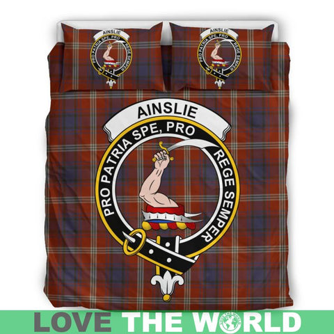 Ainslie Tartan Clan Badge Bedding Set Th1 Bedding Set - Black Black / Queen/full Sets