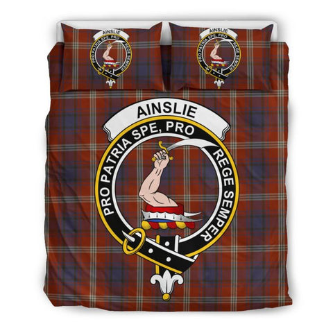 Image of Ainslie Clan Badge Tartan Bedding Set Th1 Bedding Set - Black Black / Queen/full Sets