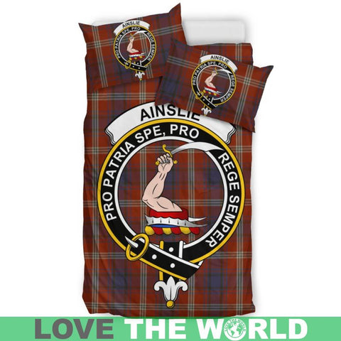 Image of Ainslie Tartan Clan Badge Bedding Set Th1 Bedding Set - Black Black / Queen/full Sets