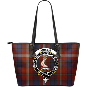 Ainslie Tartan Clan Badge Large Leather Tote Bag W7 Totes