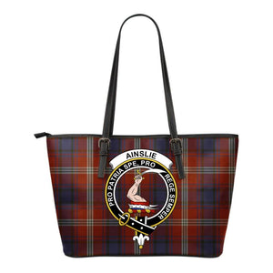 Ainslie Tartan Clan Badge Small Leather Tote Bag C20 Totes