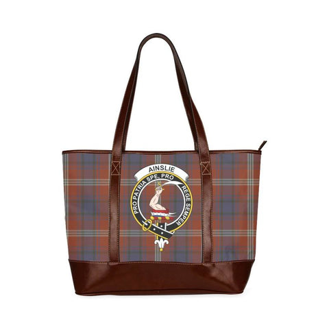 Ainslie Tartan Clan Badge Tote Handbag Hj4 Handbags