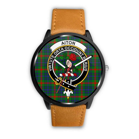 Aiton Clan Badge Tartan Leather/steel Watch P1 Mens 40Mm / Brown Leather-Steel Watches