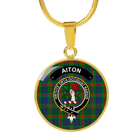 Aiton Clan Tartan Golden Necklace And Bangle A9 Luxury Necklace (Gold) Jewelries