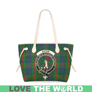Aiton Tartan Handbag - Tartan Clan Badge Large Leather Tote Bag Nn5