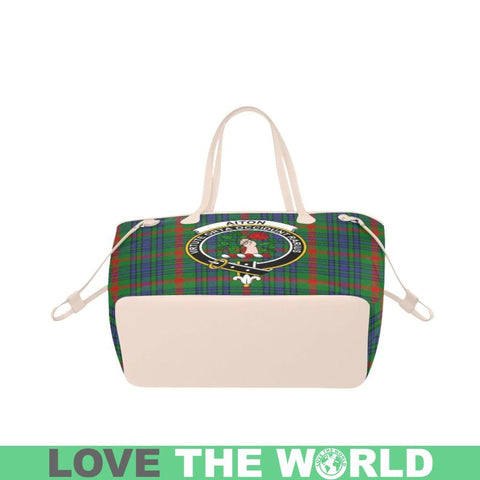 Aiton Tartan Clan Badge Clover Canvas Tote Bag C33 Bags