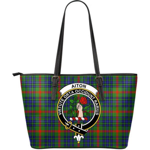 Aiton Tartan Clan Badge Large Leather Tote Bag W7 Totes