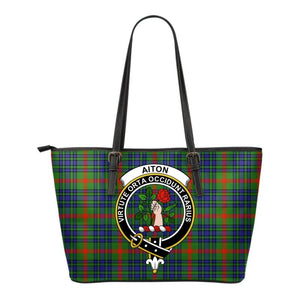 Aiton Tartan Clan Badge Small Leather Tote Bag C20 Totes