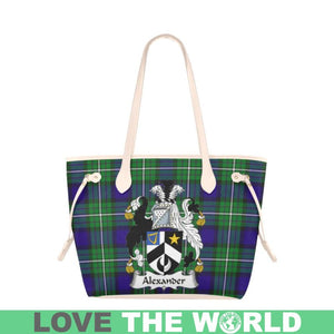 Alexander Tartan Handbag - Tartan Clan Badge Large Leather Tote Bag Nn5