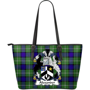 Alexander Tartan Clan Badge Large Leather Tote Bag W7 Totes