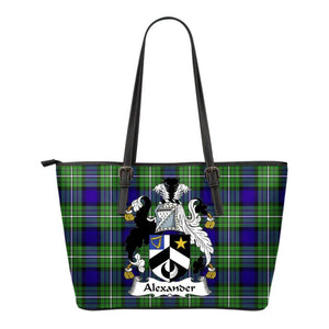 Alexander Tartan Clan Badge Small Leather Tote Bag C20 Totes