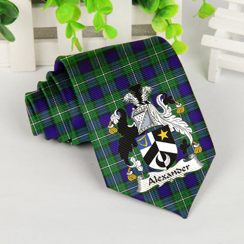 Alexander Tartan Tie with Clan Crest TH8