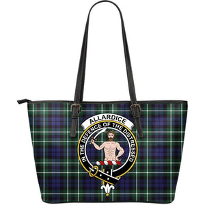 Allardice Tartan Clan Badge Large Leather Tote Bag W7 Totes