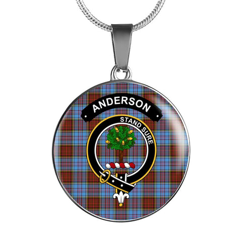 Anderson Clan Tartan Silver ( Necklace And Bangle) F1 Luxury Necklace W/ Adjustable Snake-Chain