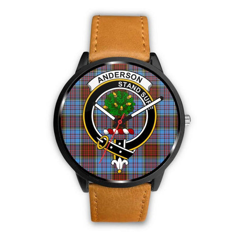 Anderson Modern Clan Badge Tartan Leather/steel Watch P1 Mens 40Mm / Brown Leather-Steel Watches