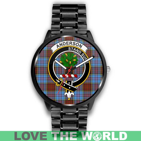 Anderson Modern Clan Badge Tartan Leather/steel WATCH - NN5 Mens 40Mm / Brown Leather-Steel Watches