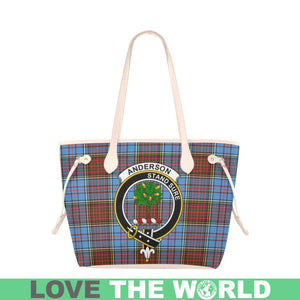 Anderson Modern Tartan Handbag - Tartan Clan Badge Large Leather Tote Bag Nn5