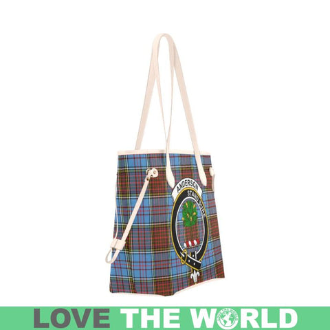 Anderson Modern Tartan Clan Badge Clover Canvas Tote Bag C33 Bags