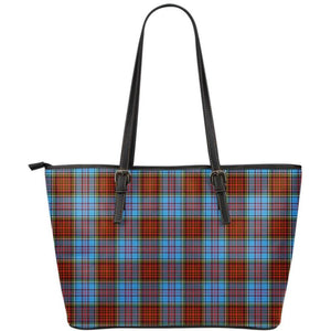 Anderson Modern Tartan Small Leather Tote Bag Nl25 Totes