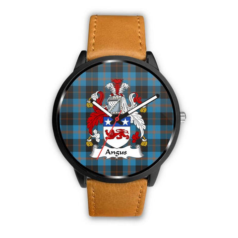 Angus Ancient Clan Badge Tartan Leather/steel Watch P1 Mens 40Mm / Brown Leather-Steel Watches