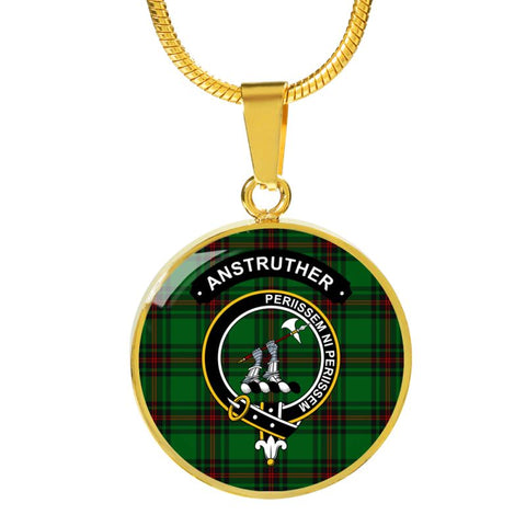 Anstruther Clan Tartan Golden Necklace And Bangle A9 Luxury Necklace (Gold) Jewelries