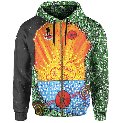 Image of Aboriginal Australian Anzac Day Zip Up Hoodie - Lest We Forget Poppy K4