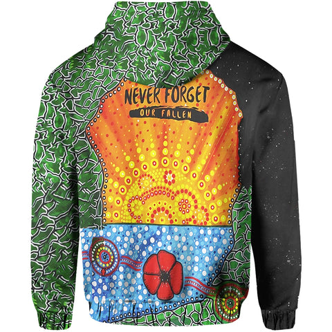 Image of Aboriginal Australian Anzac Day Hoodie - Lest We Forget Poppy back | 1sttheworld.com