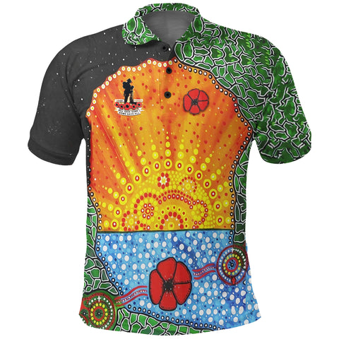Image of Aboriginal Australian Anzac Day Polo Shirt - Lest We Forget Poppy front | 1sttheworld.com