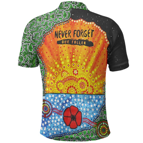 Aboriginal Australian Anzac Day Polo Shirt - Lest We Forget Poppy back| 1sttheworld.com
