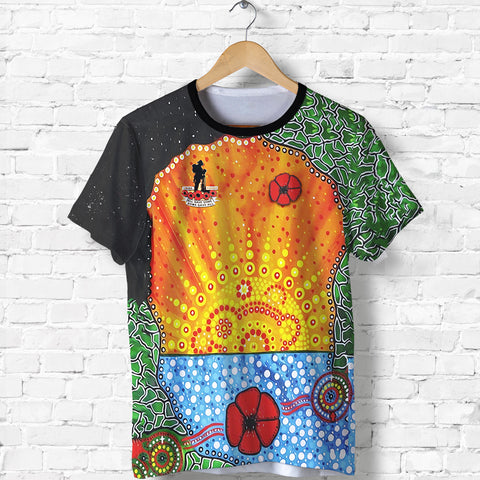 Aboriginal Australian Anzac Day T Shirt - Lest We Forget Poppy front | 1sttheworld.com