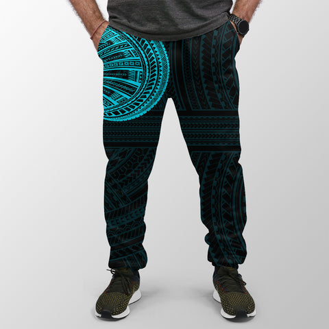 Jogger (Women's/Men's) Polynesian Tattoo Style Cyan A27
