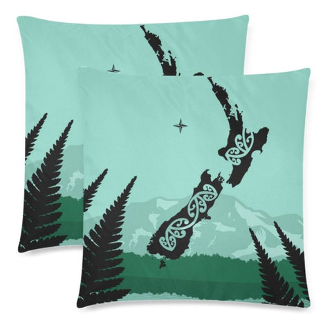Image of Aotearoa Map Pillow Y3 One Size / New Zealand Map Custom Zippered Pillow Cases 18X 18 (Twin Sides)