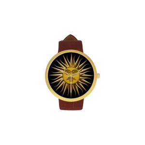 Argentina Sol De Mayo Luxury Watch Th7 One Size / Womens Golden Leather Strap Watch(Model 212)