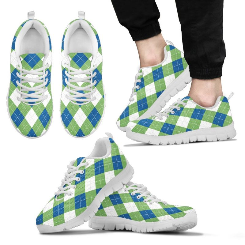 Argyle Pattern Blue-Green Sneakers 9 Mens Sneakers - White / Us5 (Eu38)