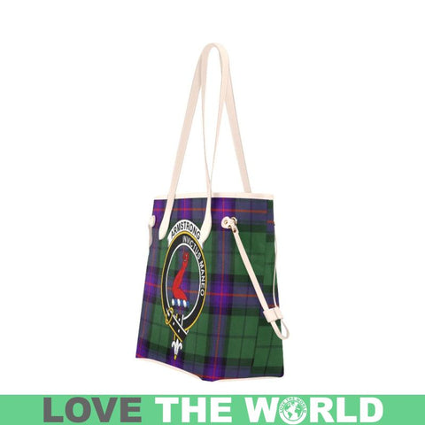 Armstrong Modern Tartan Clan Badge Clover Canvas Tote Bag C33 Bags