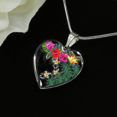 Hawaii Heart Shaped Necklace - Hibiscus Turtle Tattoo Black | Love The World