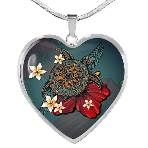 Hawaii Heart Shaped Necklace - Polynesian Blue Turtle Tribal | Love The World