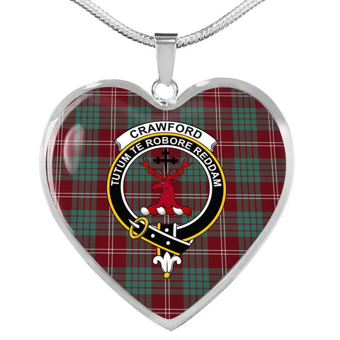 Crawford Modern Tartan Crest Heart Necklace HJ4