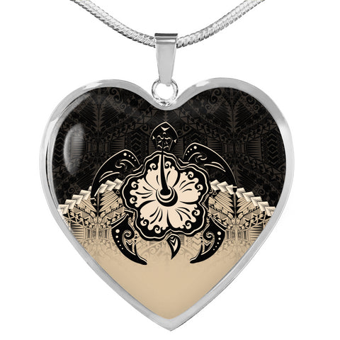 Image of Hawaii Heart Shaped Necklace - Polynesian Turtle Hibiscus Gold | Love The World