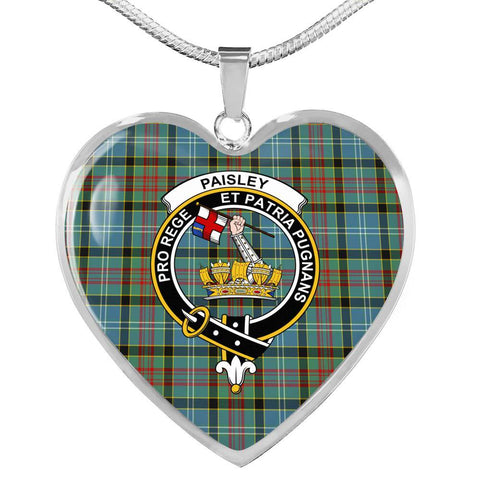 Paisley District Tartan Crest Heart Necklace HJ4