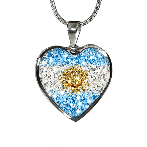 Argentina Flag Sparkling Heart-Shaped  ( Necklace/Bangle) A1