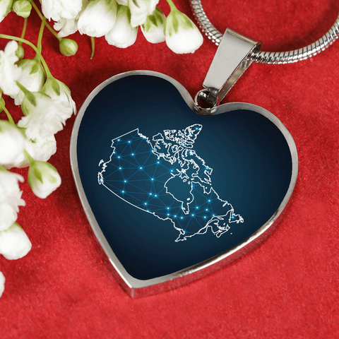 Canada Polygonal Map Heart-Shaped Jewelries For Women D6