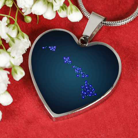 HAWAII POLYGONAL MAP HEART-SHAPED JEWELRIES D6