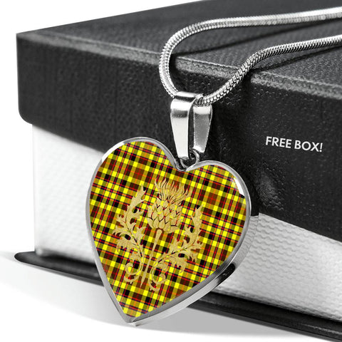 Jardine Tartan Heart Necklace Thistle Gold