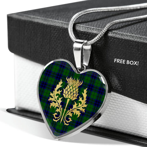 Keith Modern Tartan Heart Necklace Thistle Gold
