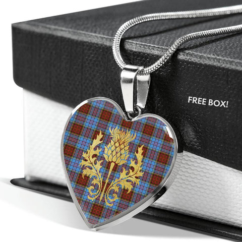 Anderson Modern Tartan Heart Necklace Thistle Gold