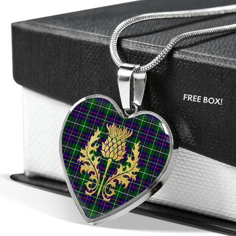 Inglis Modern Tartan Heart Necklace Thistle Gold