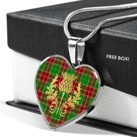 Baxter Modern Tartan Heart Necklace Thistle Gold