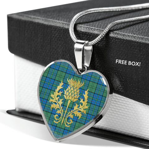 Image of Lockhart Tartan Heart Necklace Thistle Gold